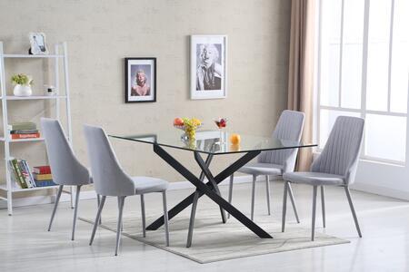 LH-205/LH-401-LG 5-Piece Dining Room Set with Glass Table and 4 Light Grey Fabric