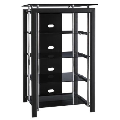 Midnight Mist AD44840-03 Audio Tower Set of 2 with Tempered Glass Shelves  Open Shelves and Wire Concealment in Textured Black Paint and Pewter