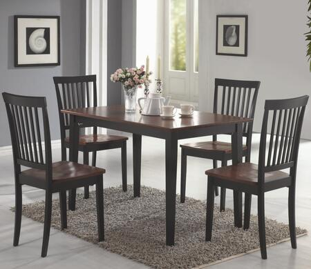 Oakdale 150153 5 PC Dining Room Set with 4 Side Chairs  Rectangular Table  Vertical Slat Chair Back  Flat Seats  Tropical Wood and Okume Veneer Material in