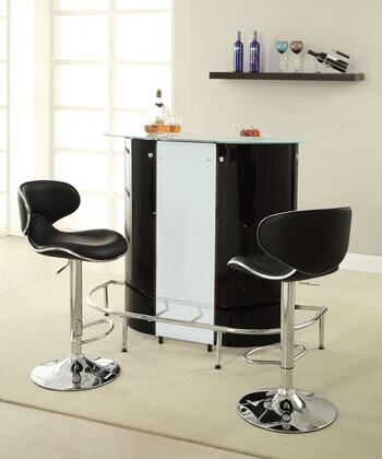 Bar Units and Bar Tables 100654BS 3 PC Bar Table Set with Bar Unit + Bar Stools in Black and White
