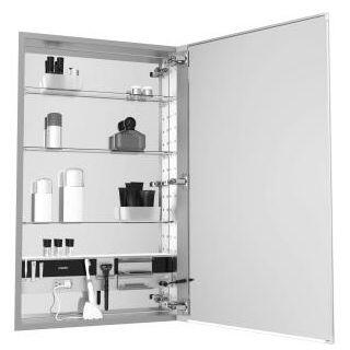 MC2030D4FPRE4 M Series 20 inch  x 30 inch  x 4 inch  Flat Plain Single Door Medicine Cabinet with Right Hinge  Integrated Outlets  Interior Light  Mirror Defogger  and