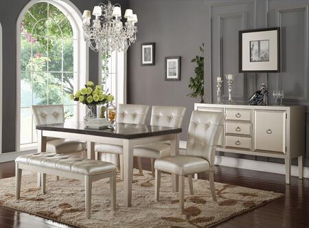 Voeville II Collection 720257SET 7 PC Dining Room Set with Bluestone Marble Top Dining Table  Server  4 PU Leather Upholstered Chairs and Bench in Platinum