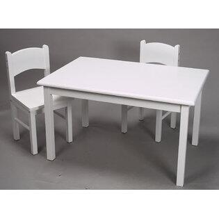 1406W Natural Hardwood Rectangle Table and Set of Two Chairs with Simple Design and Lightweight in