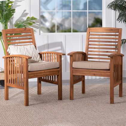 OWC2BR Brown Acacia Patio Chairs with Cushions (Set of