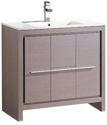 Allier FCB8136GO-I 36 inch  Single Sink Vanity with 2 Soft Closing Doors  2 Soft Closing Drawers and Integrated Sink in Grey