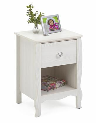Lindsay Collection 28401 15.6 inch  1-Drawer Nightstand with Decorative Crystal Pull Knob and Sculpted Front Uprights in Stone White