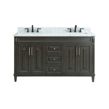 STERLING-VS60-CL-C Sterling 61 inch  Double Sink Vanity in Charcoal Finish with Carrera White Marble