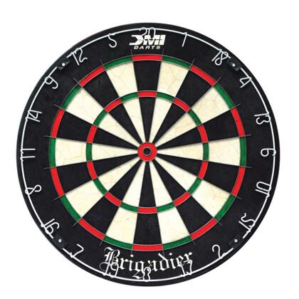 60012 Brigardier Regulation Size 18 inch x1.5 inch  Staple-Free Bristle Dartboard with Patented Razor Thin Spider Wire  and Powder Coated Number