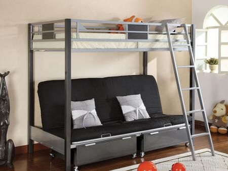 Cletis Collection CM-BK1014 Twin Size Bed with Futon Base  Movable Ladder  Contemporary Style and Full Metal Construction in Silver and Gun Metal