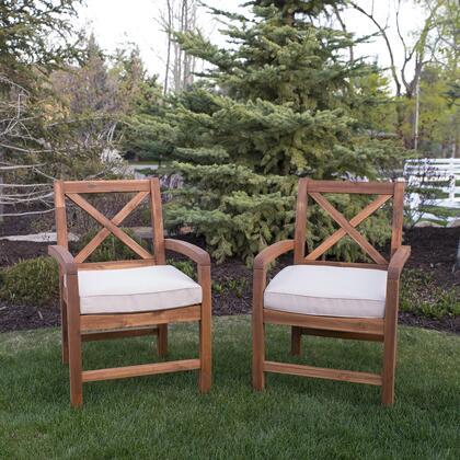OWXB2BR X-Back Acacia Patio Chairs with Cushions (Set of 2) in