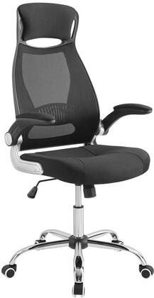 Expedite Collection Highback Office Chair with Adjustable Height  Full Swivel Seat  Dual-Wheel Nylon Casters  Padded Mesh Seat and Headrest in Black