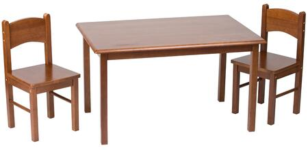 1406C Natural Hardwood Rectangle Table and Set of Two Chairs with Simple Design and Lightweight in