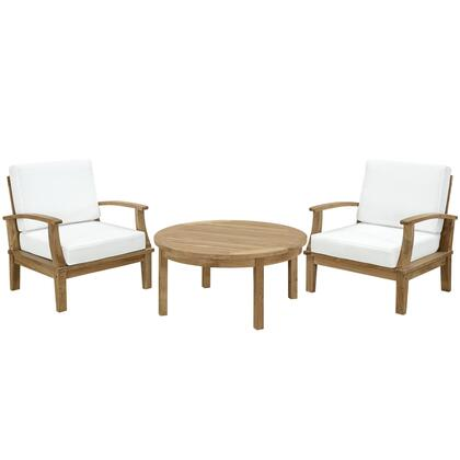Marina Collection EEI-1475-NAT-WHI-SET 3-Piece Outdoor Patio Teak Sofa Set with Coffee Table and 2 Armchairs in Natural and