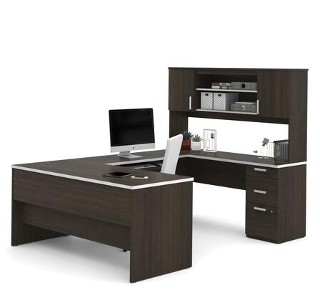 52850-79 Ridgeley U-shaped Desk with lateral file and bookcase in Dark