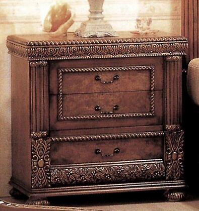8423N Bella 3 Drawer Nightstand in Mahogany with Cherry
