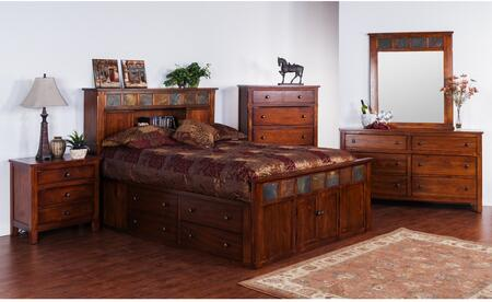 Santa Fe Collection 2334dcsqbdmnc 5-piece Bedroom Set With Storage Queen Bed  Dresser  Mirror  Nightstand And Chest In Dark Chocolate
