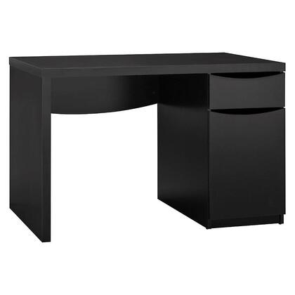 Montrese MY72717-03 Computer Desk with Closed Storage  One Adjustable Shelf and Smooth Ball Bearing Slides in Classic Black
