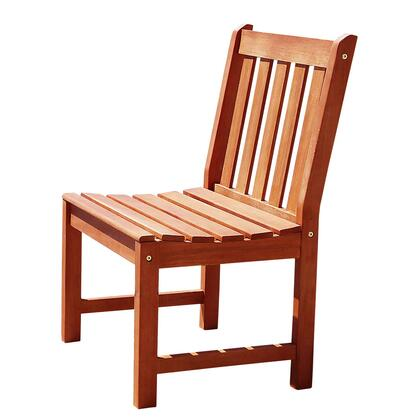 V1636 Malibu Eco-Friendly Outdoor Hardwood Garden Armless Chair  Natural