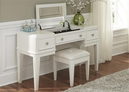 Stardust Collection 710-YBR-VN 2-Piece Vanity Set with Vanity and Bench in Iridescent White