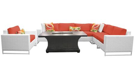 MIAMI-08e-TANGERINE Miami 8 Piece Outdoor Wicker Patio Furniture Set 08e with 2 Covers: Sail White and
