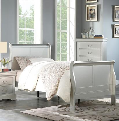 Louis Philippe III Collection 26710T Twin Size Sleigh Bed with Low Profile Footboard  Sleigh Headboard  Gum Wood Veneer and Solid Pine Wood Construction in