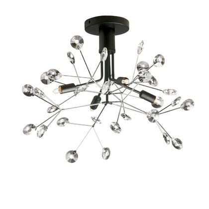 PRS-194SF-BK-PC 4 Light Semi-Flush Mount With Crystal Petals  Black Finish And Polished Chrome