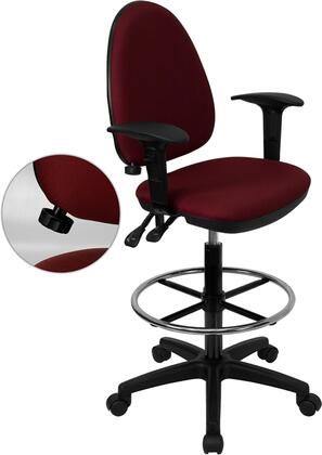 WL-A654MG-BY-AD-GG Mid-Back Burgundy Fabric Multi-Functional Drafting Stool with Arms and Adjustable Lumbar