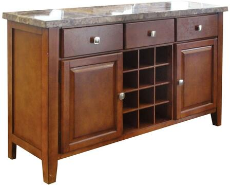 Bologna Collection 07047 56 inch  Server with 3 Drawers  2 Doors  Marble Top  Metal Hardware  Wine Bottle Rack  Solid Wood and Wood Veneer Materials in Brown Cherry