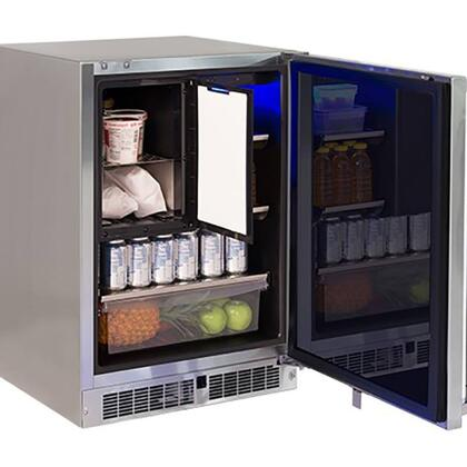 LM24REFCR 24 inch  Professional Series Outdoor Compact Refrigerator with Freezer  4.9 cu. ft. Total Capacity  Blue LED Lighting and Door Alarm  in Stainless Steel