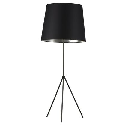 OD4L-F-697-MB 1 Light 3 Leg Oversize Drum Floor Lamp With Black On Silver Shade  Matte Black