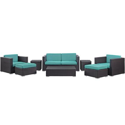 Venice Collection EEI-610-EXP-TRQ-SET 8 PC Outdoor Patio Sofa Set with Tempered Glass Top  Synthetic Rattan Weave  Powder Coated Aluminum Frame  Weather