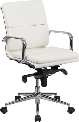 BT-9895M-WH-GG Mid-Back White Leather Executive Swivel Office Chair with Synchro-Tilt