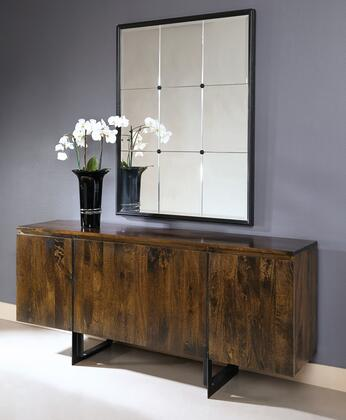 75301 72 inch  Sideboard with Four Doors  Metal Legs and Stretchers in Bhura Dark