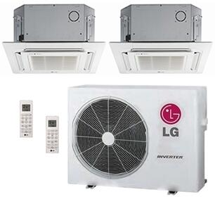 LMU24CHVPACKAGE29 Dual Zone Mini Split Air Conditioner System with 30000 BTU Cooling Capacity  2 Indoor Units  Outdoor Unit  and 2 PT-UQC Grille 704119