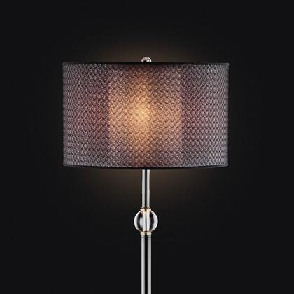 Magda L95133F Floor Lamp with Black chrome finish  Leather-like base accent  Double drum shade  Outer shade: 16