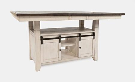 Madison County 1706-72TBKT High or Low Dining Table with Storage Shelves  Extension Leaf and Distressed Detailing in Vintage