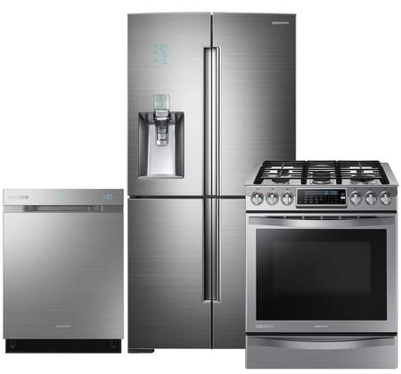 "Chef Collection 4-Piece Stainless Steel Kitchen Set with RF34H9960S4 36"""" Freestanding French Door Refrigerator  NE58H9970WS 31"""" Slide-In Induction Range"" 370883"