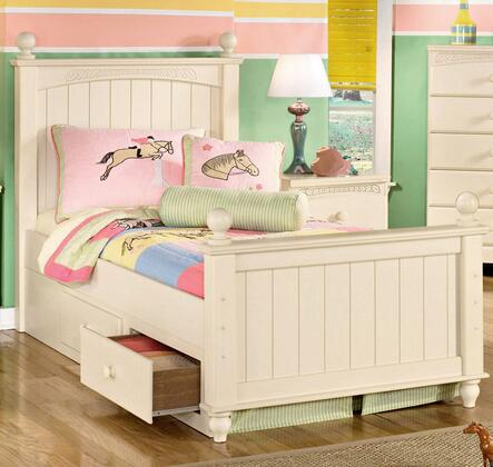 Cottage Retreat Collection B213-51N/52N/83N/70/B100-11 Twin Size Poster Bed with Underbed Storage  Turned Posts and Graphic Leaf Design in Cream Cottage