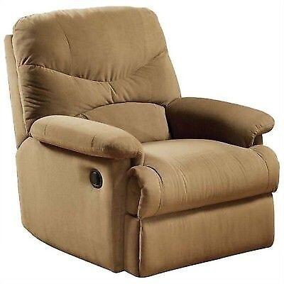 Arcadia Collection 00627 Recliner with Plush Padded Pillow Arms  Split Back Cushion  Metal Reclining Mechanism and Microfiber Upholstery in Light Brown