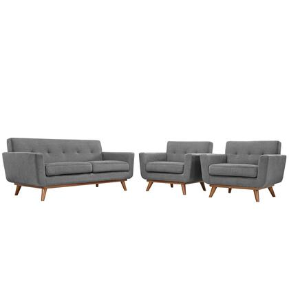 Eei-1347-gry Engage Armchairs And Loveseat Set Of 3 In Gray