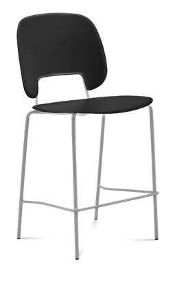 TRAFF.R.A0F.SA.PNE Traffic Stacking Chair with Sand Lacquered Steel Frame  Polished Metal Legs  Black Polypropylene Seat and