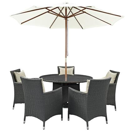 Sojourn Collection EEI-2246-CHC-BEI-SET 7-Piece Outdoor Patio Sunbrella Dining Set with 5 Armchairs  Dining Table and Patio Umbrella in Antique Canvas