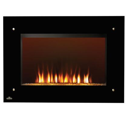 """EF39HD Tranquille 39"""" Wall-Hanging Electric Fireplace with Heater  Handheld Multi-Function Remote  Clear Glass Embers  and Heater with up to 5 000"""