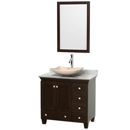 Wcv800036sescmgs5m24 36 In. Single Bathroom Vanity In Espresso  White Carrera Marble Countertop  Arista Ivory Marble Sink  And 24 In.