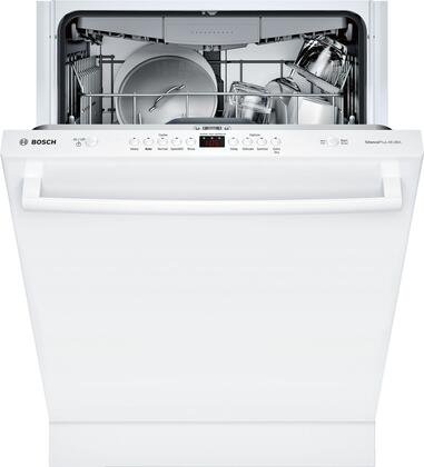 "Bosch 24"" Front Control Built-In Dishwasher with Stainless Steel Tub White SHXM4AY52N"