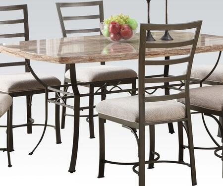 Val Collection 70094 66 inch  Dining Table with White Faux Marble Top  Rectangular Top  Scroll Details  Paper Veneers and Iron Tube Construction in Antique Bronze
