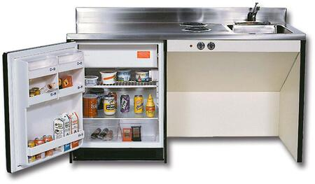 RES63BF Compact Kitchens with Stainless Steel Sink  2 Electric Burners and 6.0 cu. ft. Removable Automatic Defrost Refrigerator: 63