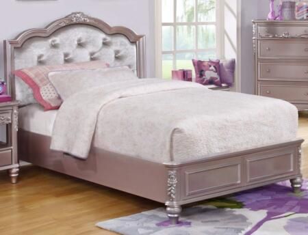 Caroline Collection 400890F Full Size Panel Bed with Padded Upholstered Headboard  Rhinestone Button Tufting  Low Profile Footboard  Decorative Molding and