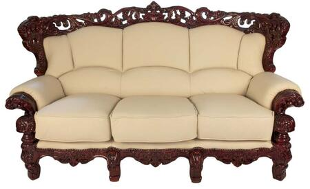 2189IVORYS2SET Traditional 2 Piece Livingroom Set  Sofa and Loveseat in Ivory with Mahogany Wood