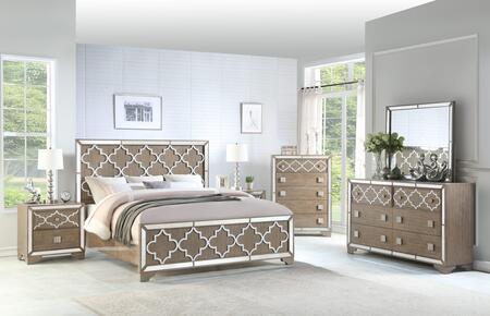 Ivony Collection IVONY QUEEN BED SET 6-Piece Bedroom Set with Queen Size Bed  Dresser  Mirror  Chest and 2 Nightstands in